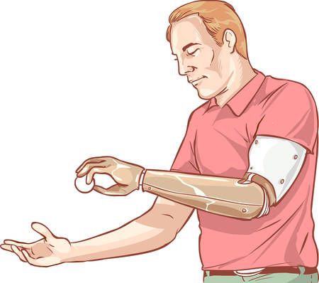 vector illustration of a Man using His Prosthetic Arm Vector Illustration