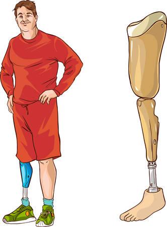 prosthetic: white background vector illustration of a prosthetic leg