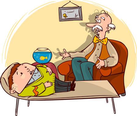 ilustracji wektorowych psychologów traktują pacjenta w sali