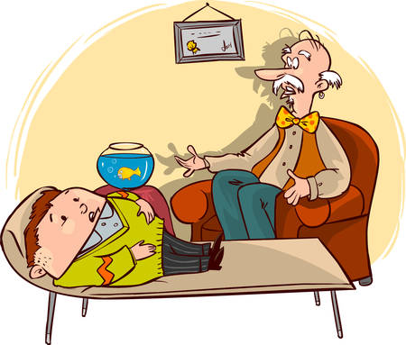 vector illustration of psychologists are treating the patient in the room