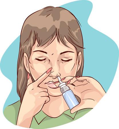 vector illustratie van een vrouw met behulp van neusspray medicatie