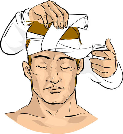 forehead: white background vector illustration of a doctor makes a bandage