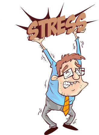 oppressed: vector illustration of a business man oppressed under depression Illustration