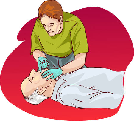 cardiopulmonary: red  background vector illustration of a Cardiopulmonary resuscitation