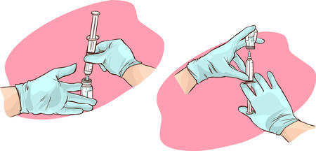 administer: vector illustration of a hands of a doctor administer the injection