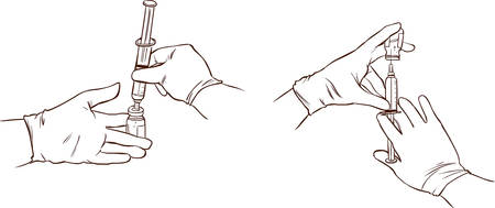 antibodies: vector illustration of a hands of a doctor administer the injection