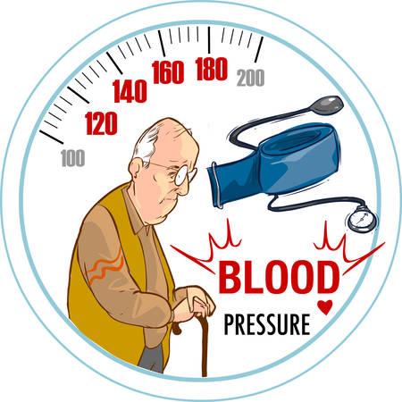 alto: el fondo blanco de la presión arterial alta y el viejo