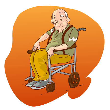 paralysis: vector illustration of a Elderly people in wheelchair