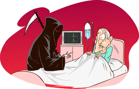 ghouls: red background vector illustration of a  Grim Reaper and patient