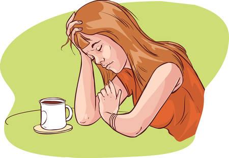 groene achtergrond vector illustratie van een vermoeide vrouwen Vector Illustratie