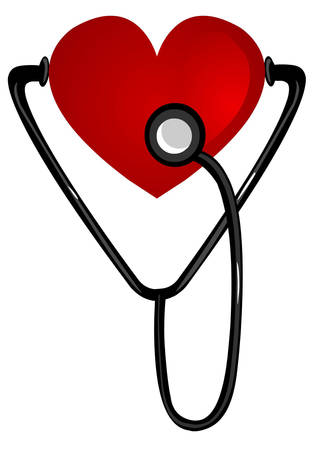 white background vector illustration of a heart stethoscope Illustration
