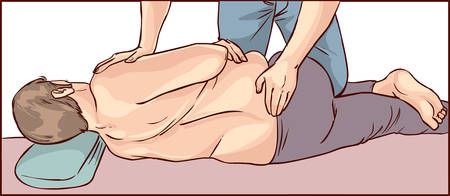 elasticity: vector illustration of a The male patient body chiropractic adjustment