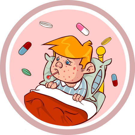 confinement: white backround vector illustration of a  measles kids