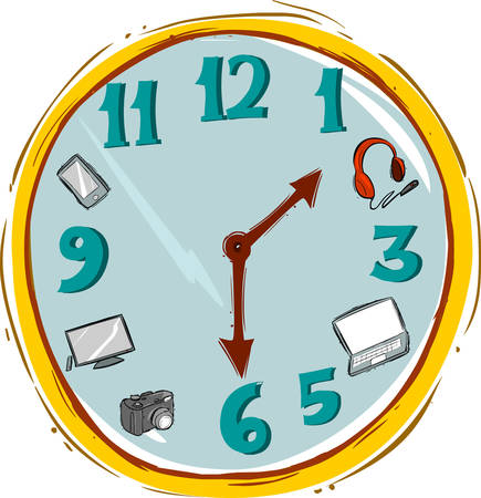 whites: Vector illustration of a Hand made clock Vector Illustration.