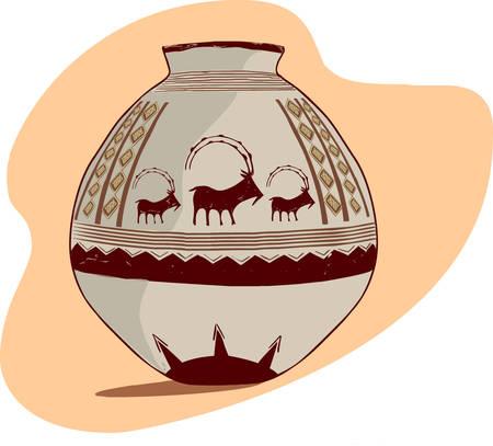 Vector l'illustrazione di una brocca archeologico Vettoriali