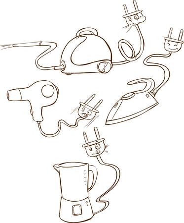 black appliances: Vector illustration of a Household appliances (Black and white)