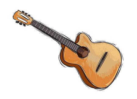 Vector illustratie van een instrument gitaar tekening