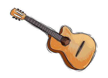 drawing instrument: Vector illustration of a instrument guitar drawing