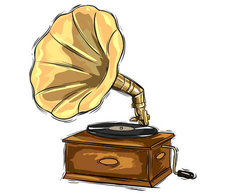 restored: Vector illustration of a gramophone sketch drawing