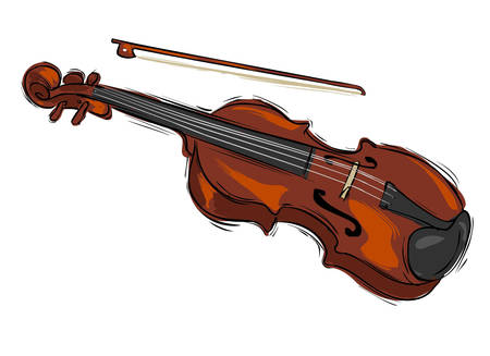 upright: Vector illustration of a musical instrument violin