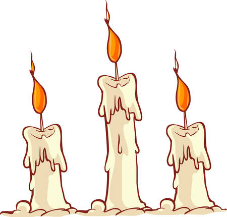 burning candle: Vector illustration of a Cartoon burning candle Illustration