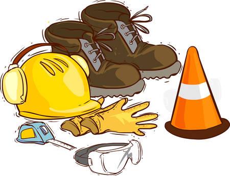 Las herramientas de construcción y medios de protección. Botas de trabajo, herramientas, construcción de casco, gafas, guantes de metro, Foto de archivo - 52766908