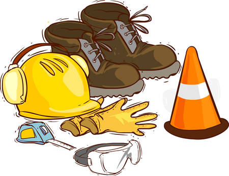 foot gear: The building tools and protective means. Working boots, tools, building helmet, goggles ,meter gloves,