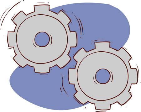 gears and cogs: Doodle style gears, cogs, or settings vector illustration Illustration