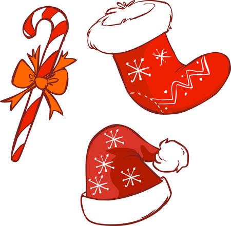santa cap: Vector illustration of a red Santa hat and cane Christmas stocking Illustration