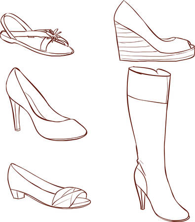 brogues: Vector illustration of a colored womens shoes