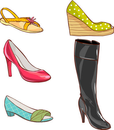 ergonomics: Vector illustration of a colored womens shoes