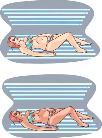 solarium: vector illustration of a  young woman entered the solarium