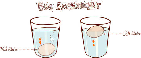 Egg floating in glass of water (sink or float egg freshness test)