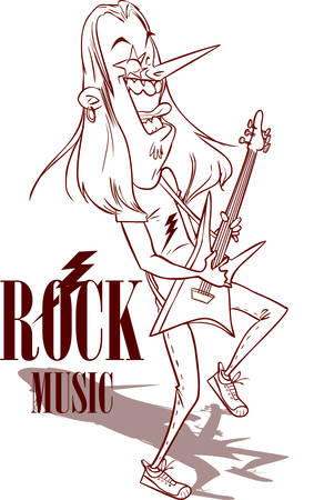 lead guitar: Rock Star With Electric Guitar illustration