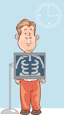 man holding transparent: The view of man is holding a X-ray picture.
