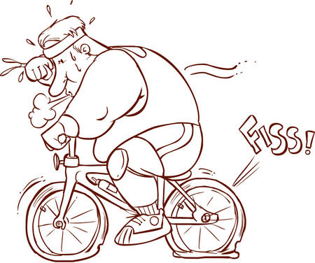 vector illustration of fat man riding a bicycle Illustration