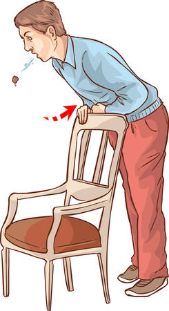 vector illustration of a Heimlich maneuver on oneself Stock Illustratie