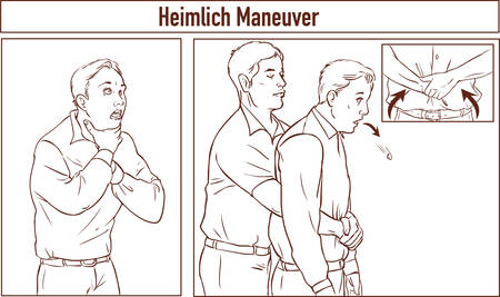 choking: Clip Art of One man stands behind the conscious victim with his hands in the proper position on the victims abdomen to perform the Heimlich maneuver