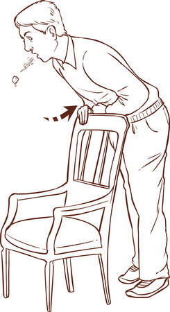 hinder: vector illustration of a Heimlich maneuver on oneself Illustration