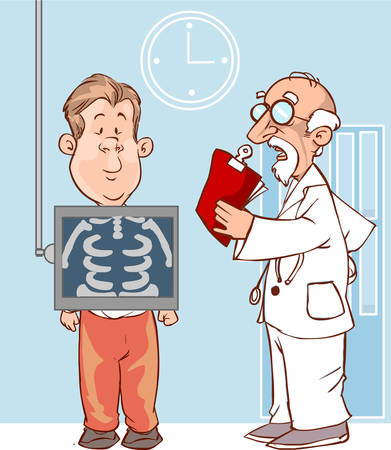 man holding transparent: The view of patient and doctor is holding a X-ray picture