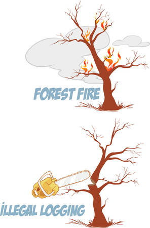 Trees on fire and cute vector illustration set