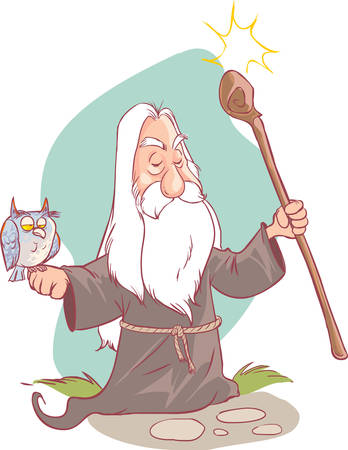 conjure: vector illustration of a old Wizard cartoon. Illustration