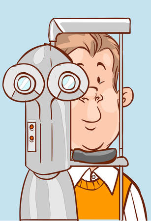 ophthalmologist: vector illustration of a Patient visiting ophthalmologist. Illustration