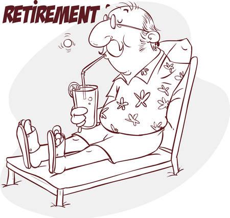 Una illustrazione vettoriale di pensione anziano felice in spiaggia