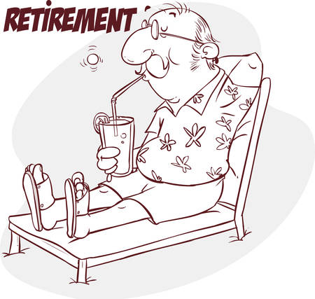 Una ilustración vectorial de jubilación mayor feliz en la playa