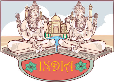 Vector Illustration of a Maha Shivaratri and Taj Mahal Illustration