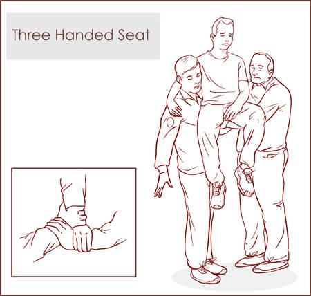 seater: Three seater carry-handed method - Stock Illustration