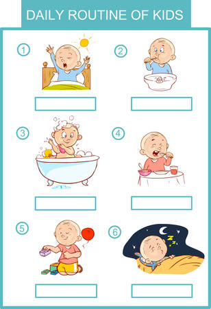 excrete: daily routine of kids vector illustration Illustration