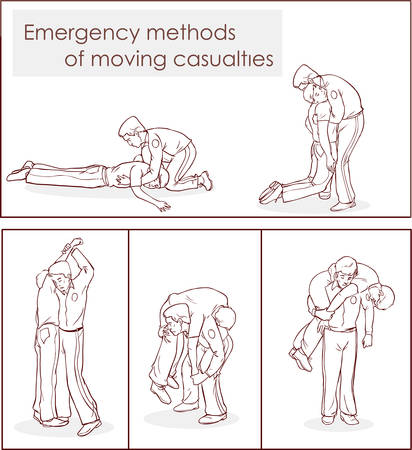 aid: vector illustration of a emergency Methods of moving casualties