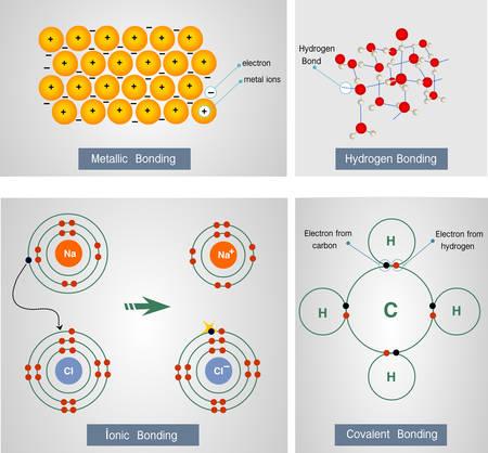Vector Illustration eines metallischen Bindung, Wasserstoffbindung, ionische Bindung, kovalente Bindung Standard-Bild - 69000149
